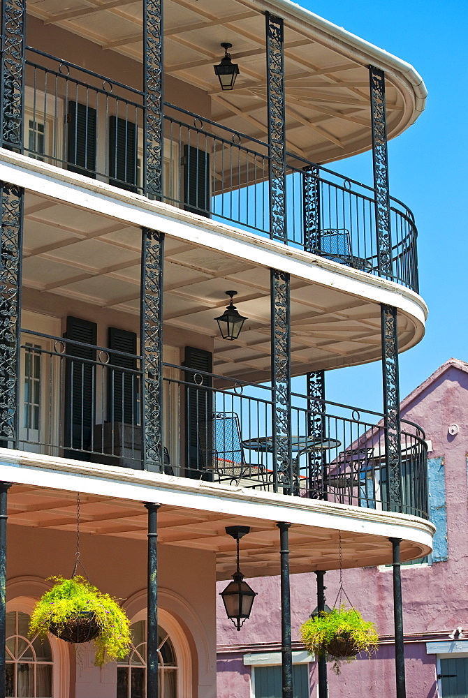 Balconies on building in the French Quarter of New Orleans - 1178-10555
