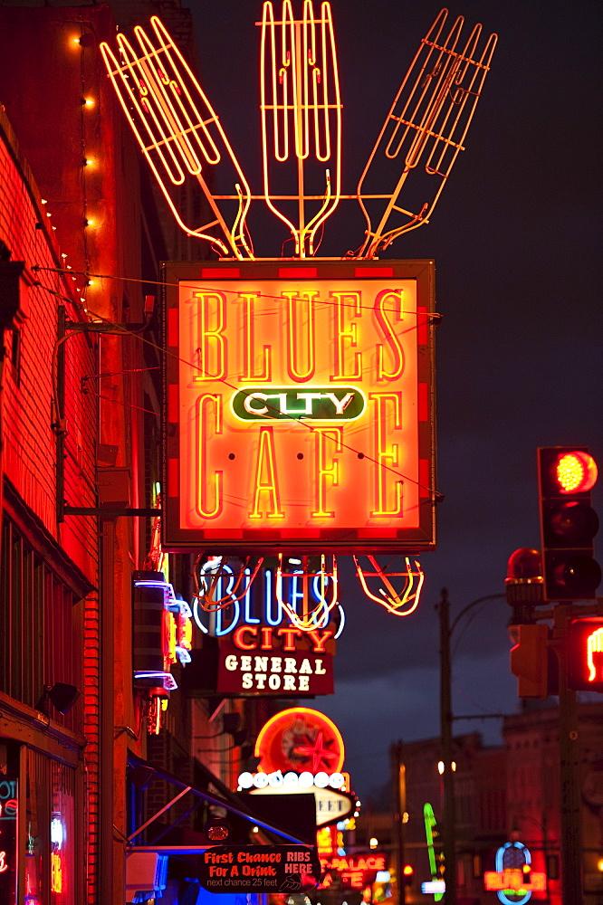 Illuminated bar signs on Beale Street in Memphis
