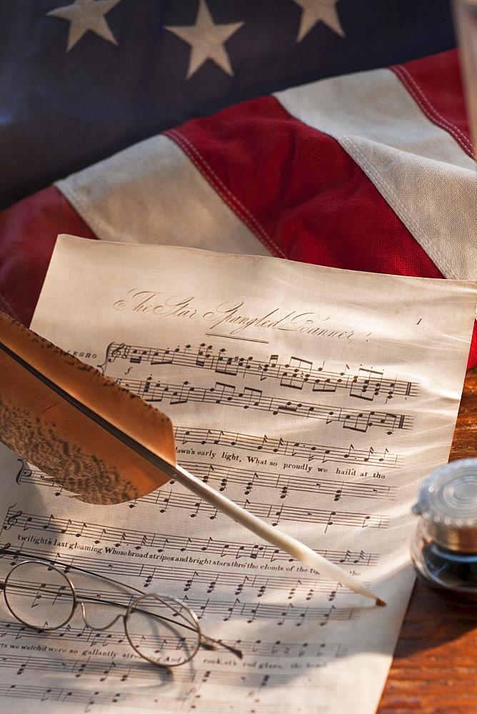 Sheet music on American flag