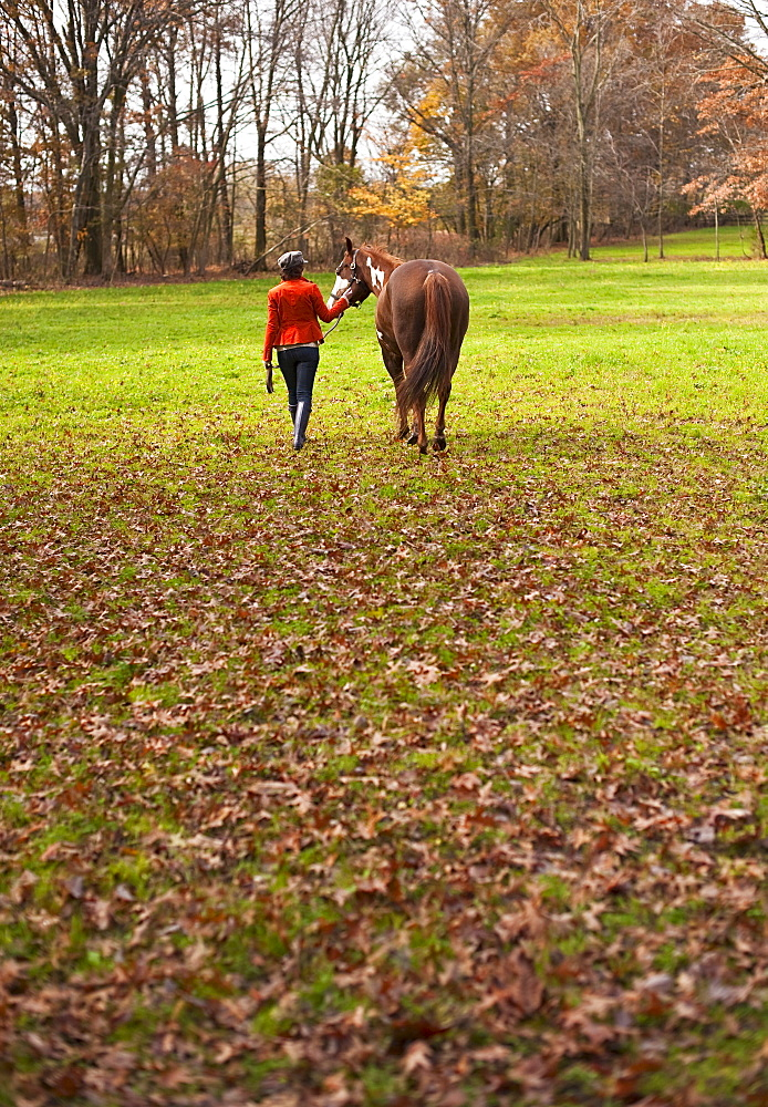 Woman walking with horse