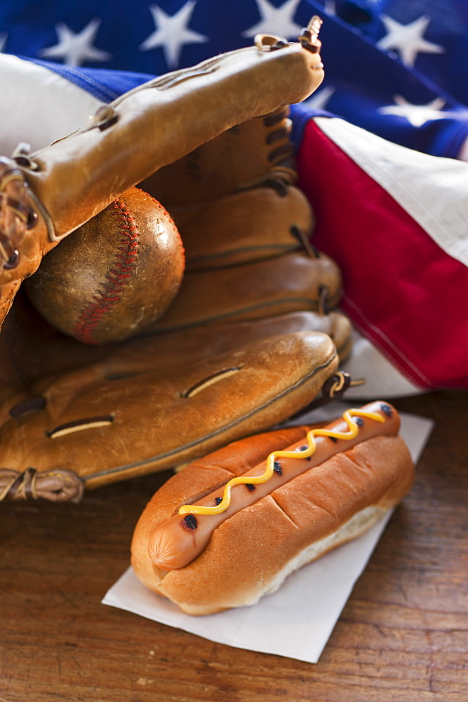 Baseball glove hotdog and American flag