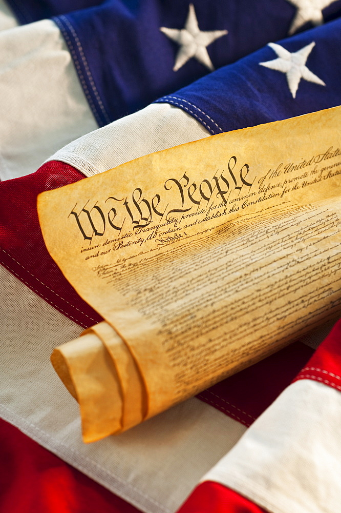 Declaration of Independence of top of American flag - 1178-10796