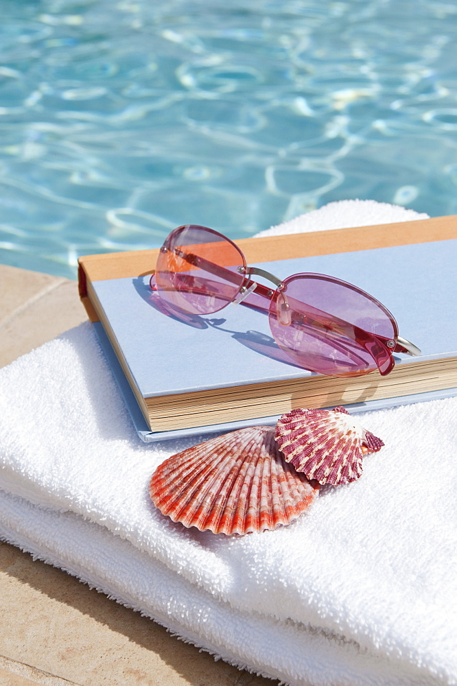 Book and sunglasses by swimming pool - 1178-10995