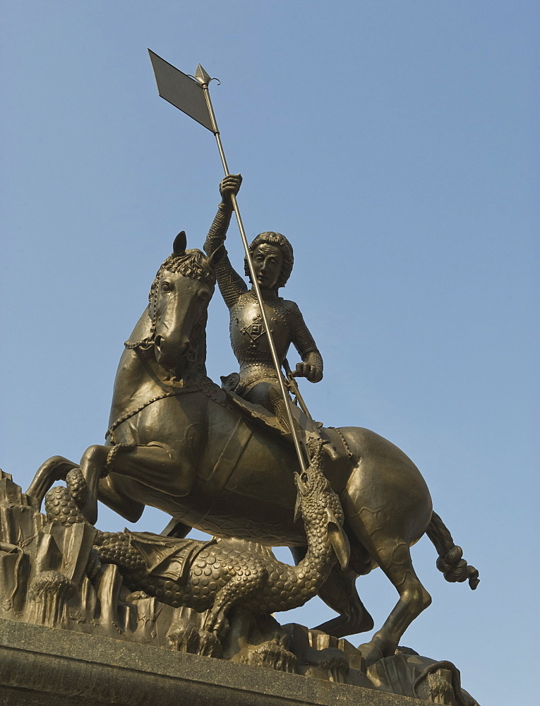 Saint George slaying the dragon statue in Prague