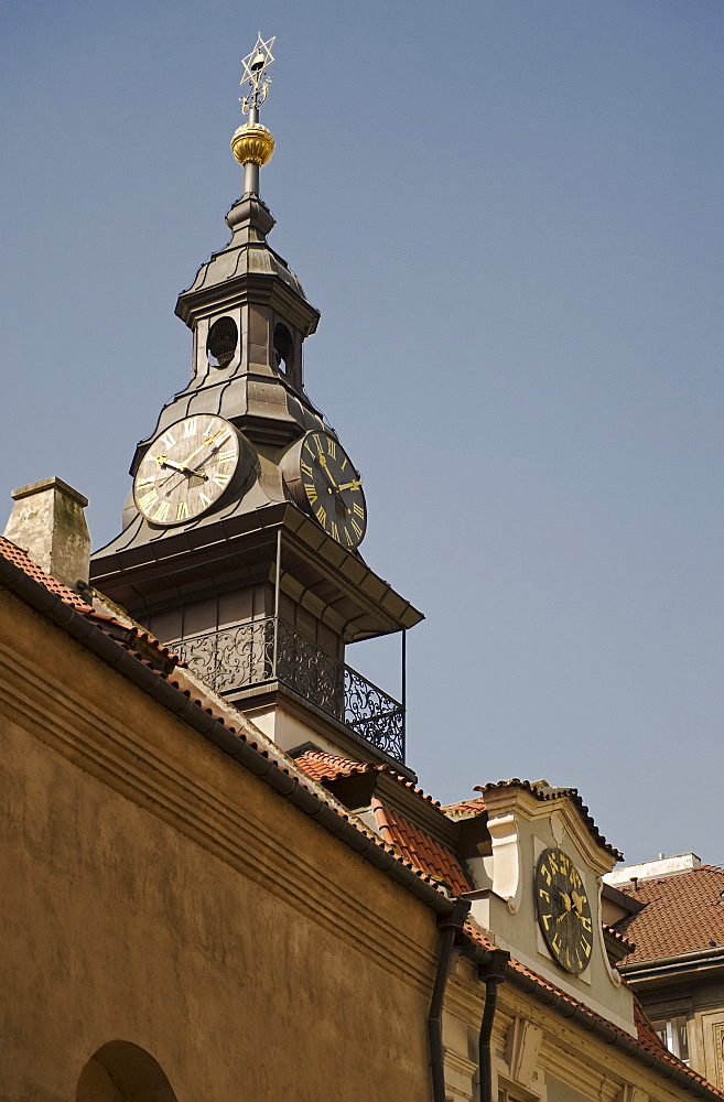 Backwards clock in Jewish Quarter of Prague