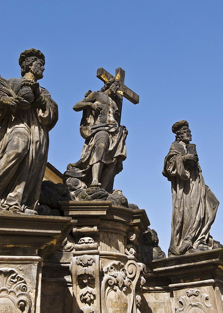 Statue of Saint Kosma, Saint Damian, and Christ in Prague