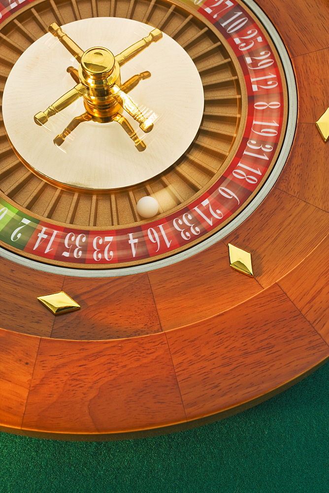 Close up of spinning roulette wheel