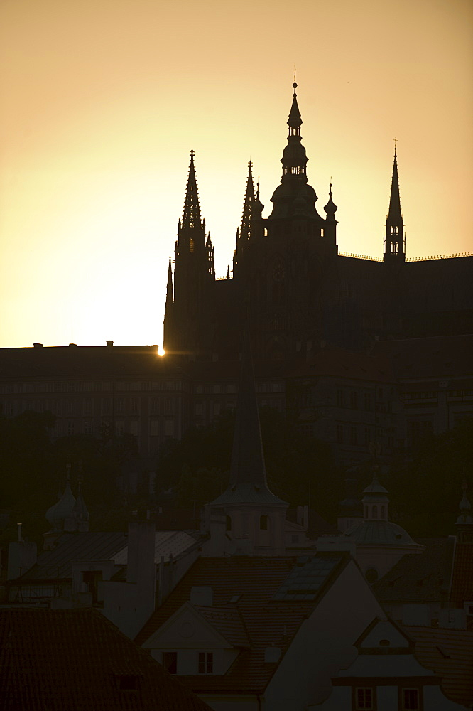 Sunset over silhouetted cathedral