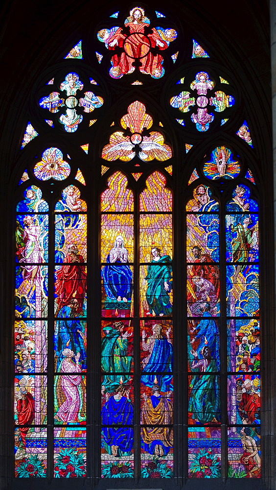 Interior view of cathedral window