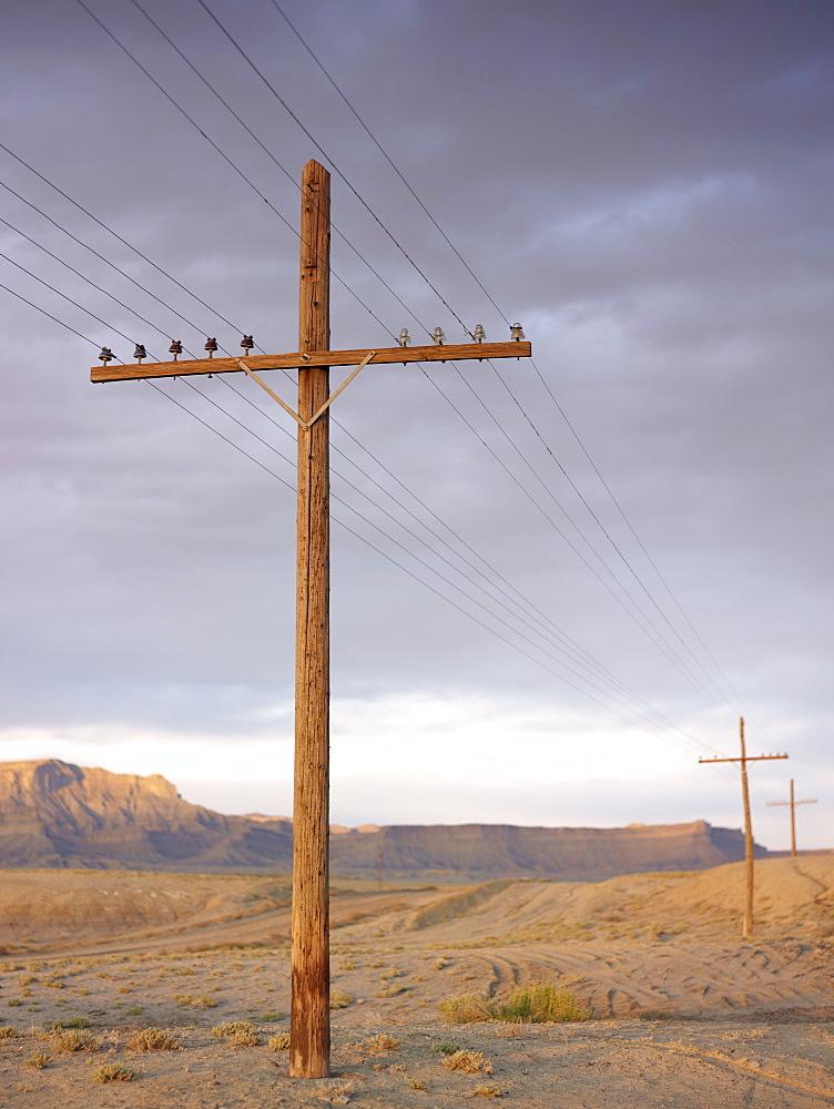 USA, Utah, Desert landscape with power lines