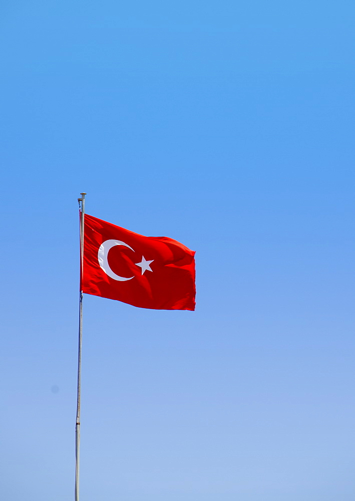 Turkey, Turkish flag against blue sky