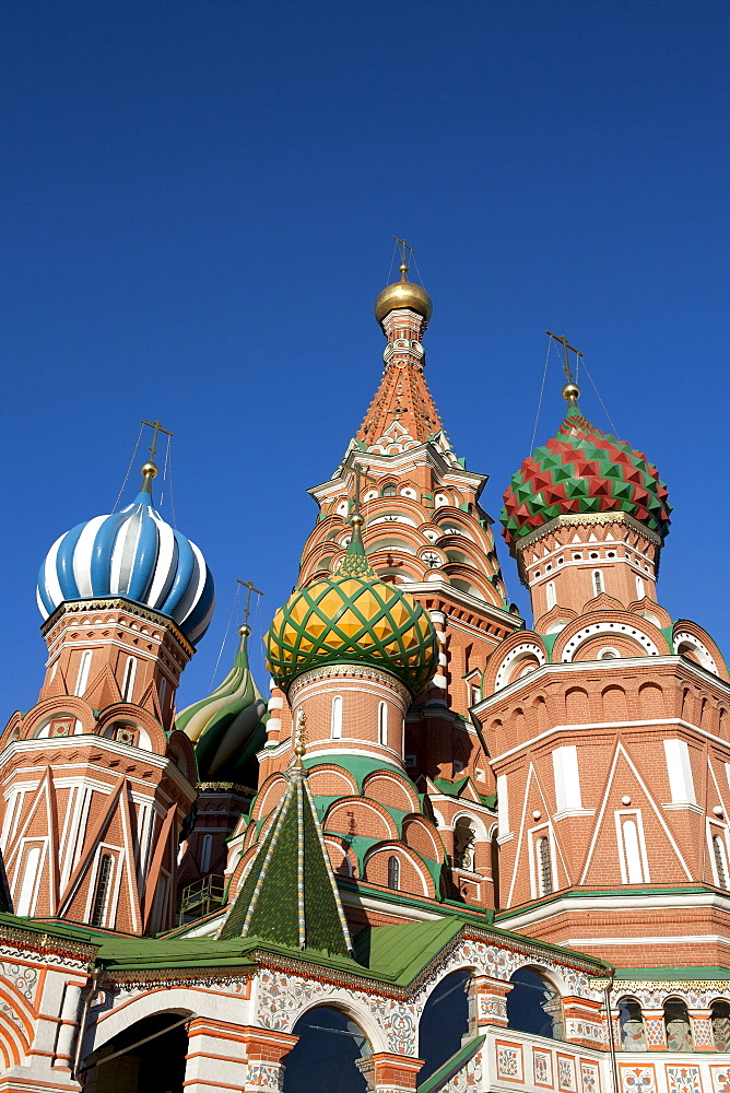 Russia, Moscow, St. Basil's Cathedral against blue sky