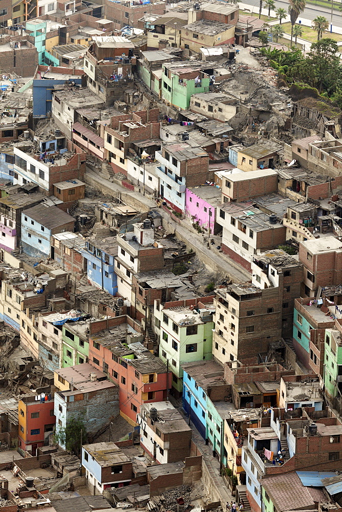 Aerial view to slums district, Lima, Peru