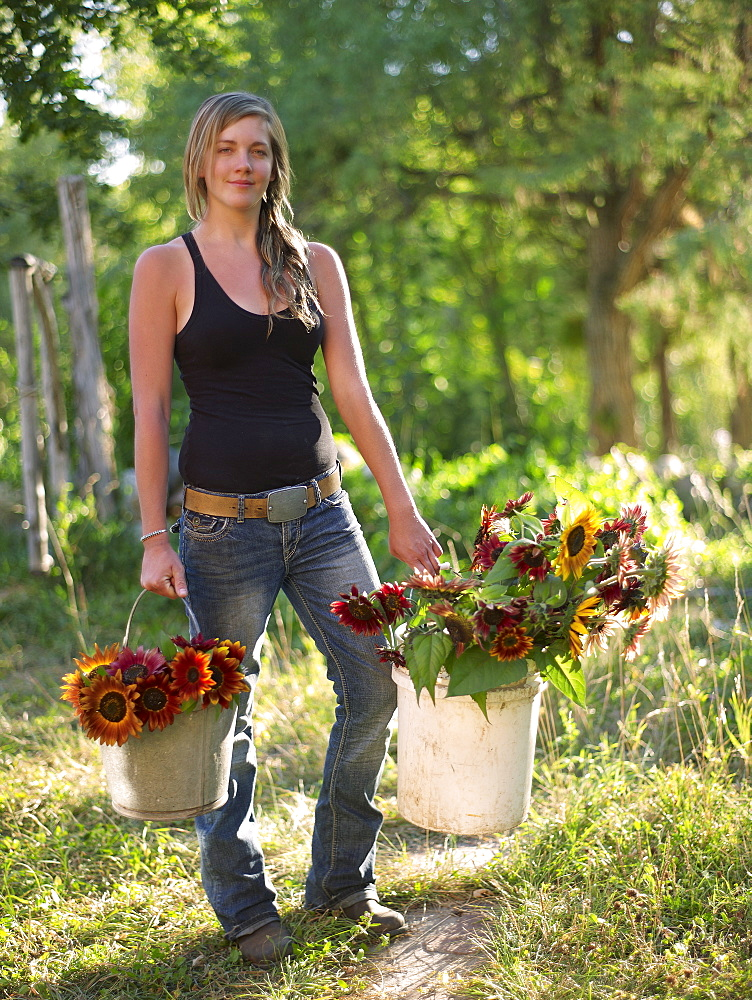 USA, Colorado, Young woman carrying buckets with sunflowers