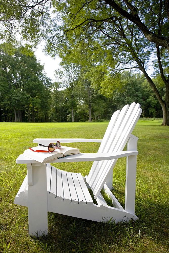 Adirondack chair on lawn