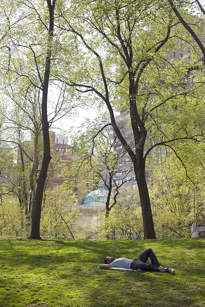 Man lying on the grass in Central Park