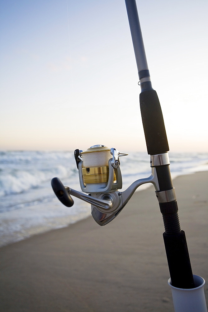 Fishing pole on the beach