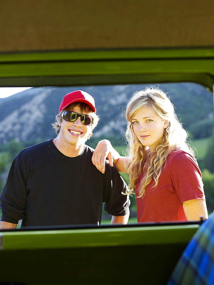 Couple looking through window