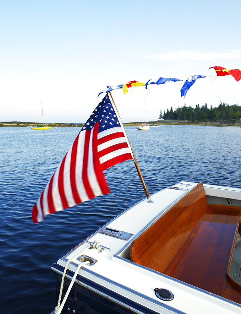 A boat with an American flag