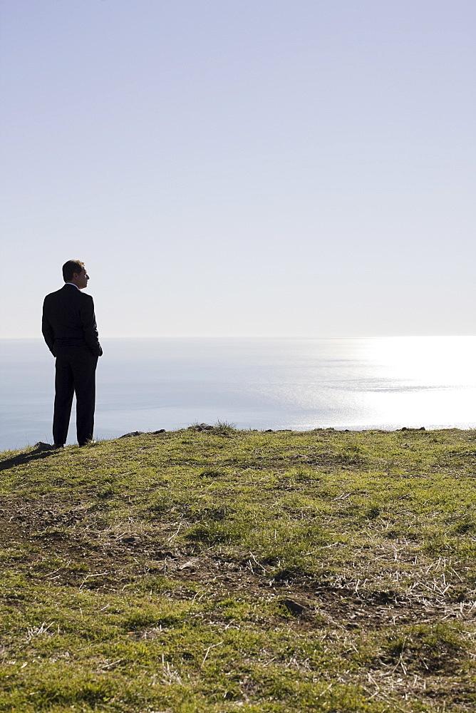Businessman looking toward ocean
