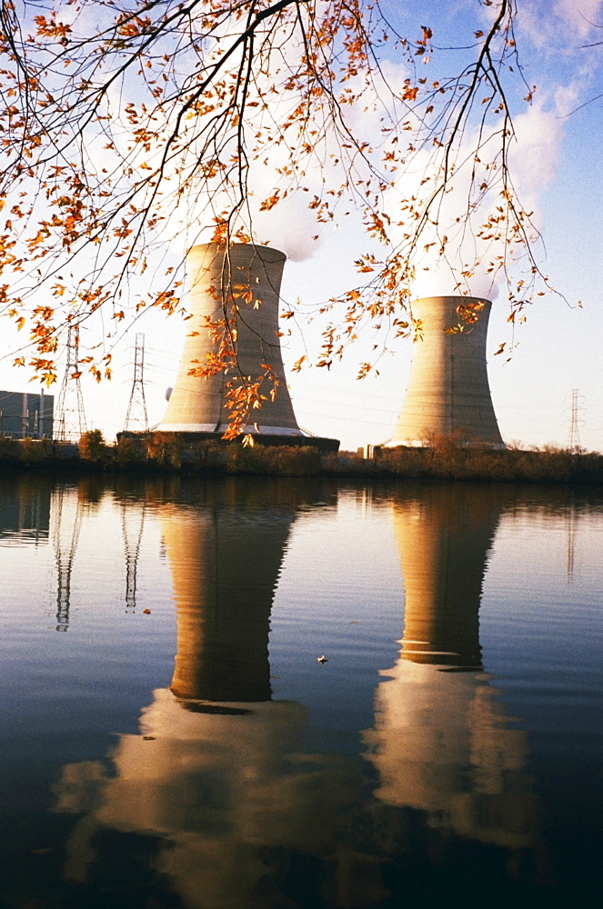 Cooling towers of Three Mile Island nuclear facility