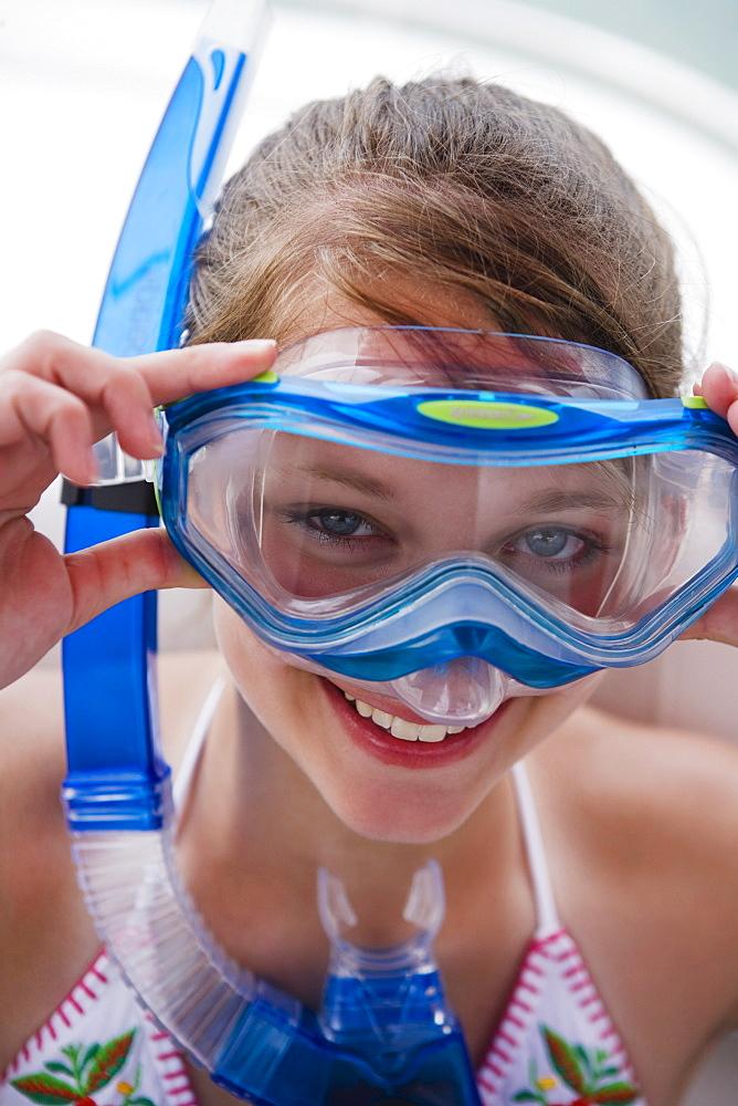Girl wearing snorkeling gear