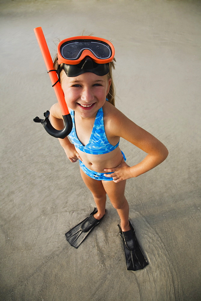 Girl wearing snorkeling gear, Florida, United States