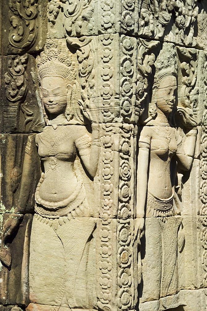 Carvings at ancient temple Angkor Wat Cambodia Khmer