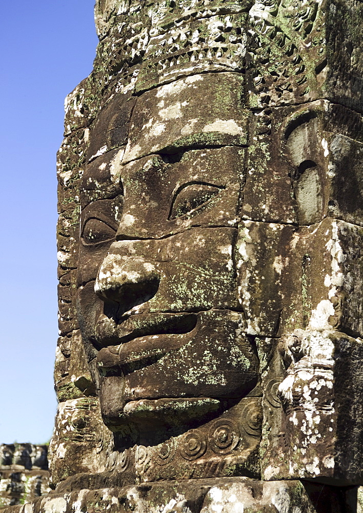Detail at ancient Temple Angkor Thom Angkor Wat Bayon Cambodia
