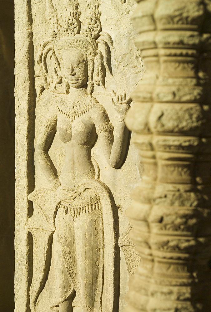 Detail at ancient Temple Angkor Wat Cambodia Khmer