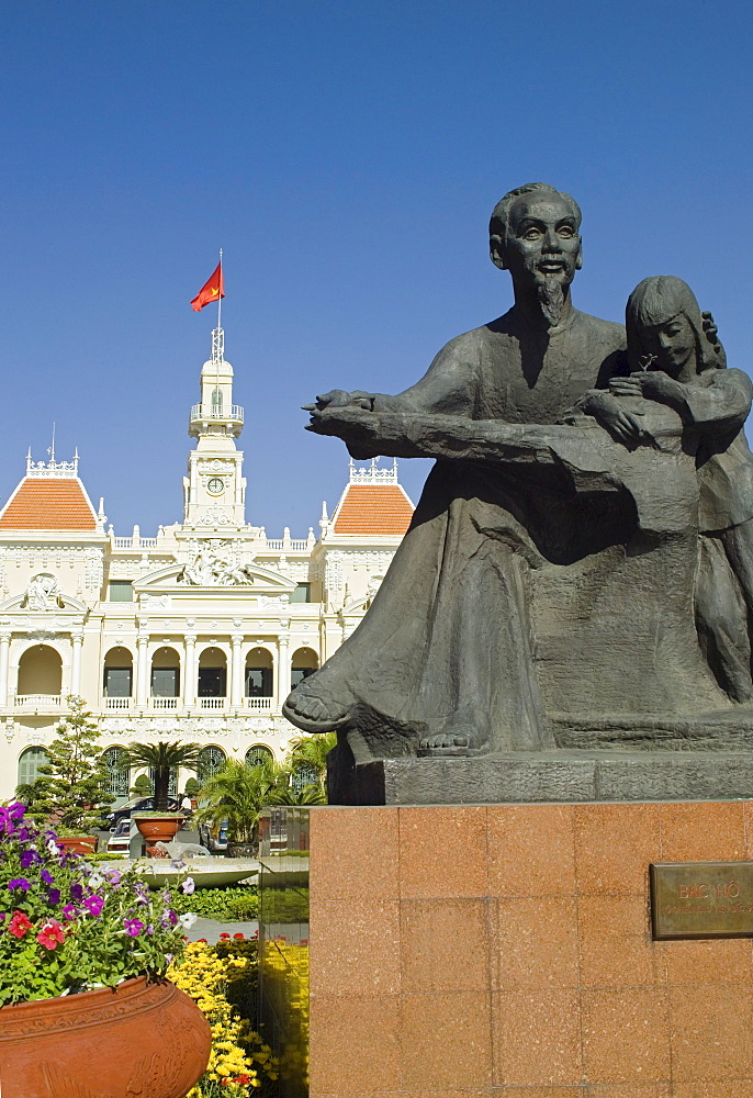 Statue of Ho Chi Minh at City Hall Ho Chi Minh City Saigon Vietnam