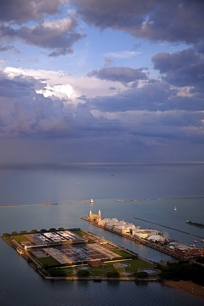 USA, Illinois, Chicago, Olive Park, Water Filtration Plant and Navy Pier on Lake Michigan seen from Hancock Tower