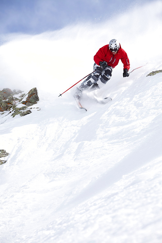 USA, Colorado, Telluride, Skier on fresh powder snow