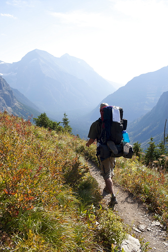 USA, Montana, Glacier National Park, Browns Pass, Mid adult hiker walking