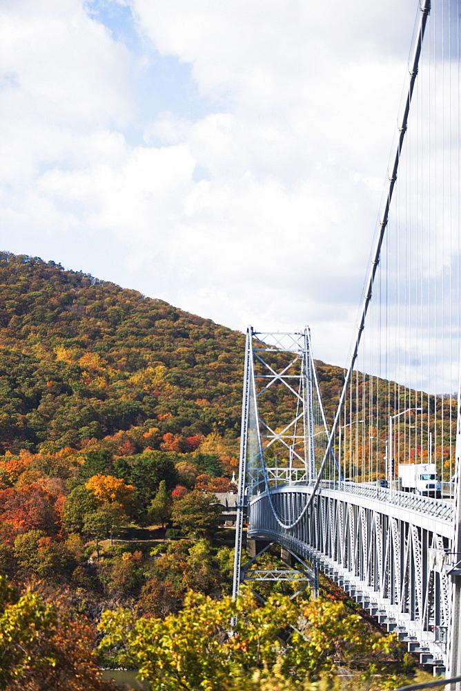 Truck crossing bridge, USA, USA, New York State, Bear Mountain