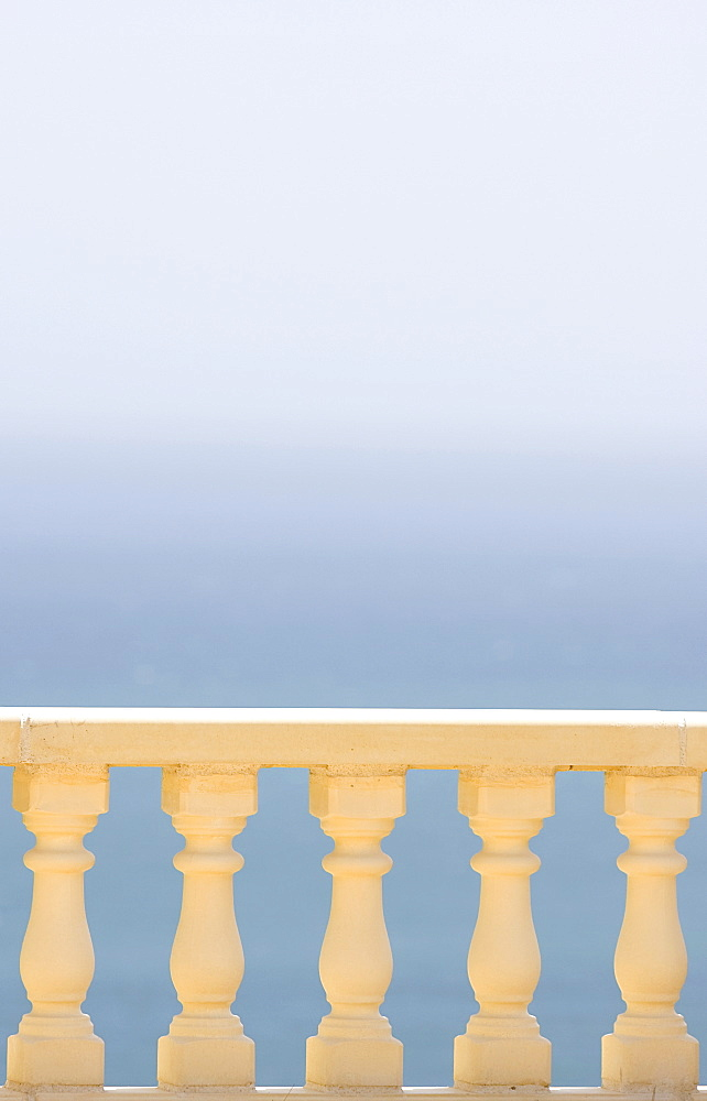 Spain, Costa Blanca, View of sea over balustrade