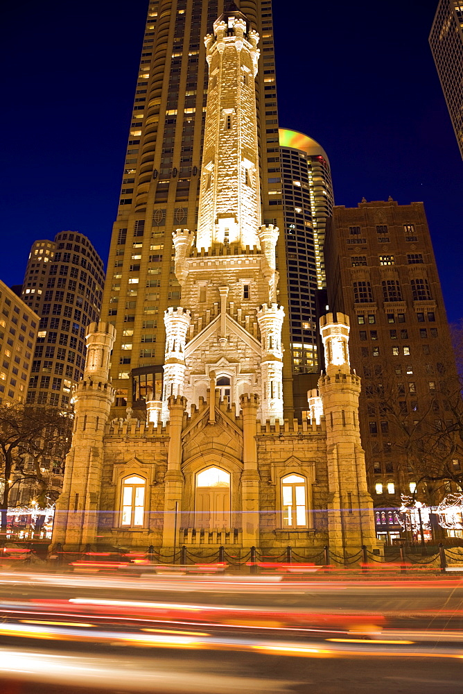 USA, Illinois, Chicago Water Tower illuminated at night
