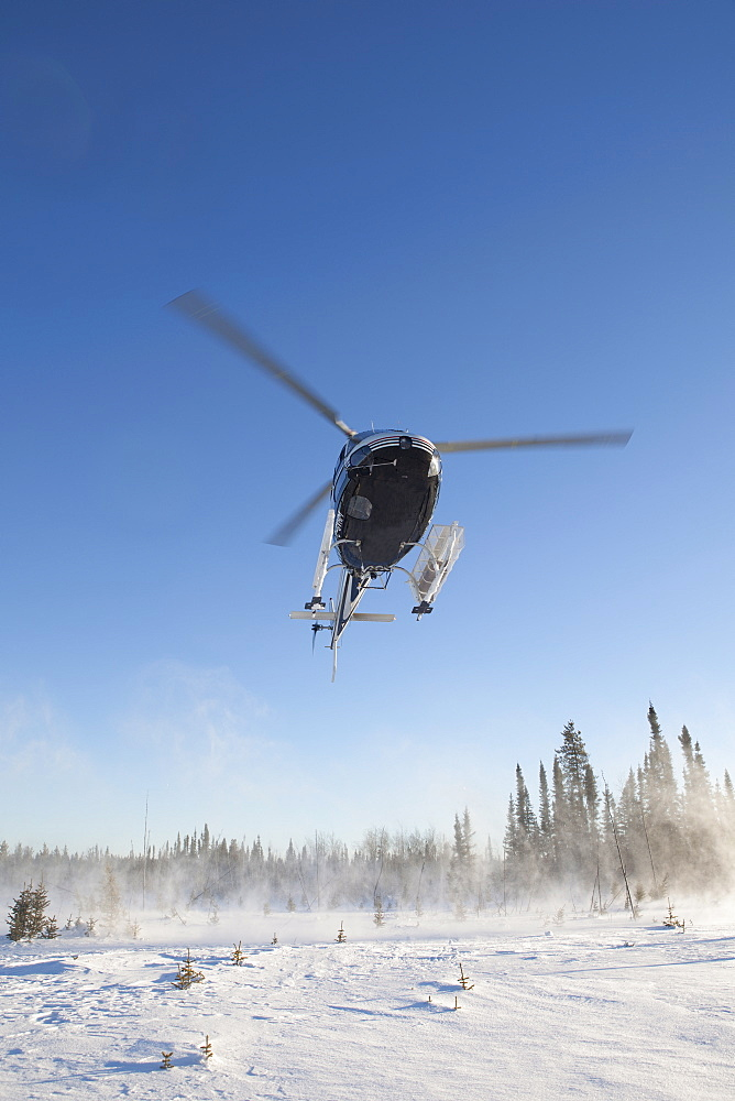 Canada, Alberta, Helicopter landing on snow