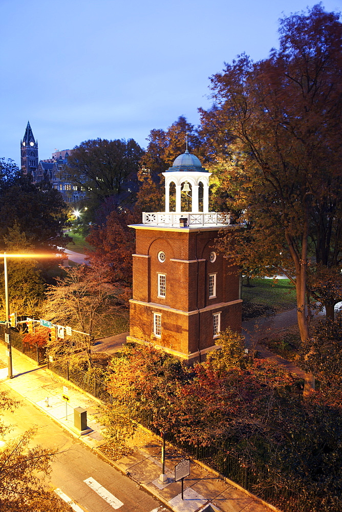 Elevated view of clock tower at evening, Richmond, Virginia