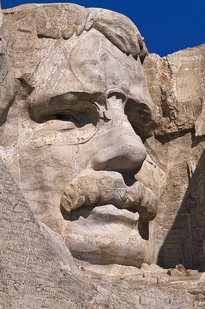 USA, South Dakota, Theodore Roosevelt on Mt Rushmore National Monument