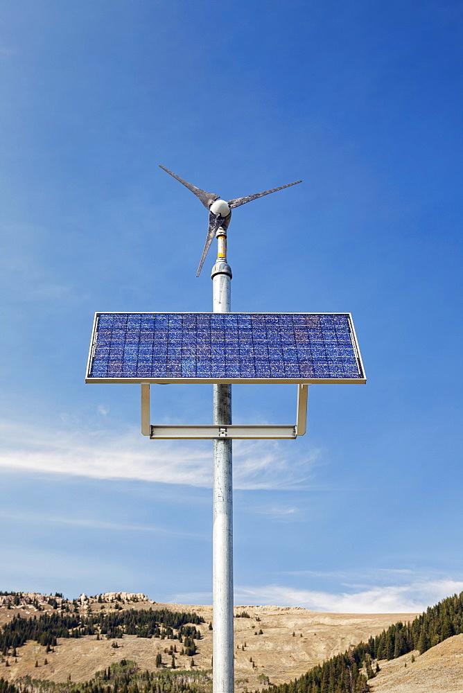 Wind turbine and solar panel near Manderson, Wyoming