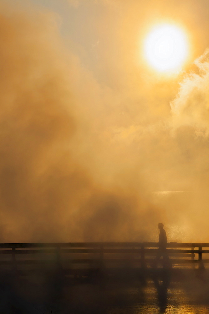 Sunrise, steam and boardwalk, West Thumb Geyser Basin, Yellowstone National Park, Wyoming