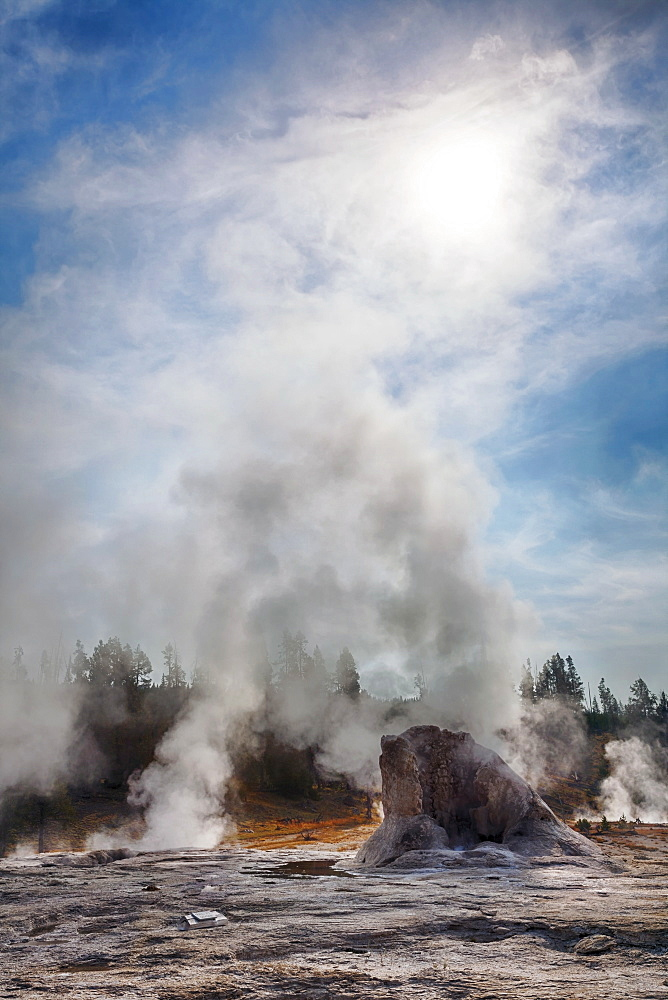 Steam from Mastiff Geyser in Upper Geyser Basin, Yellowstone National Park, Wyoming