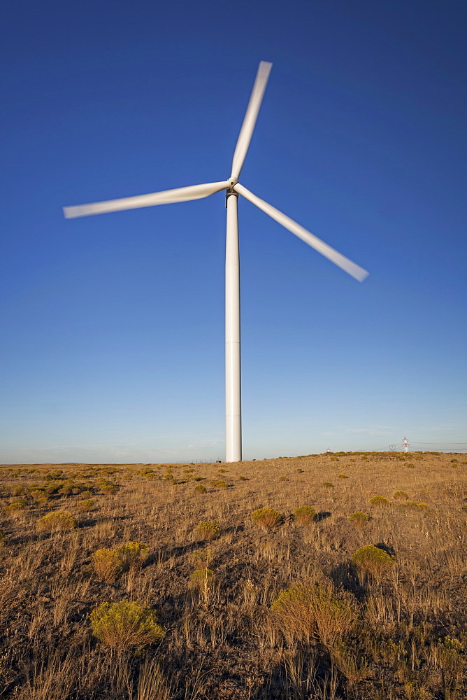 Wind turbine in late afternoon, Oregon