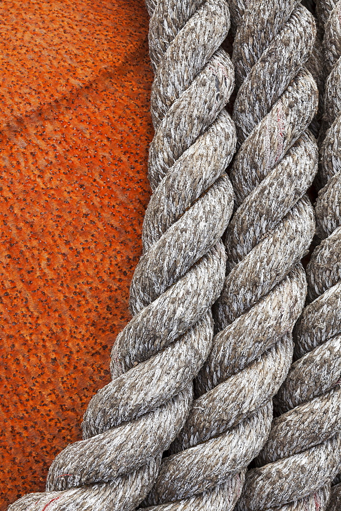 Close up of rope on rusted buoy, Bandon, OR