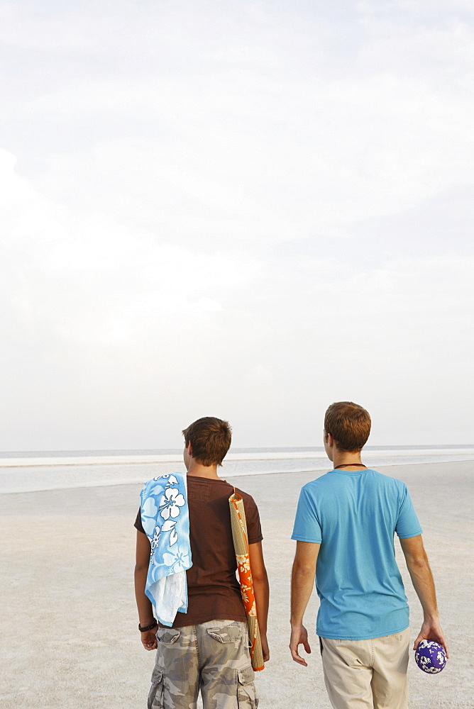 Young men walking on beach