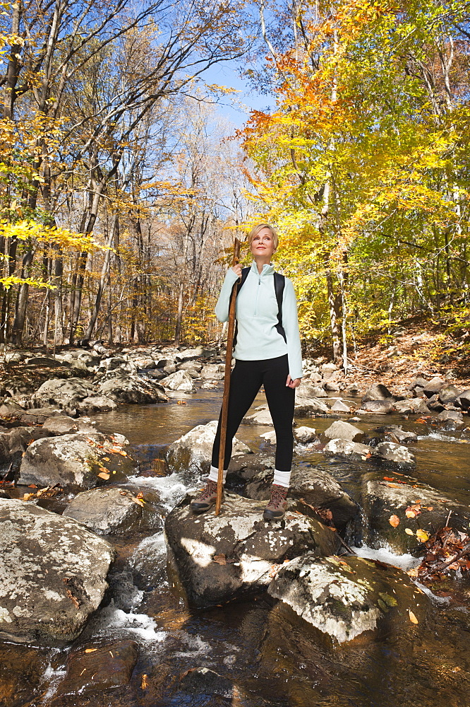 Female hiker standing on rock in stream in forest