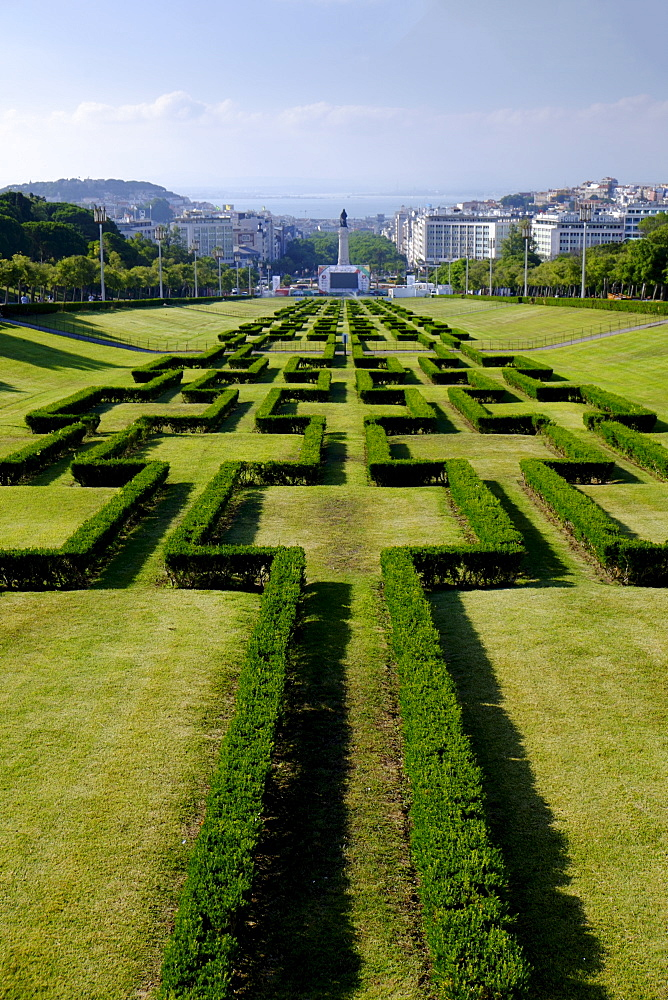 Ornamental hedge in Park of Edward VII, Lisbon, Portugal