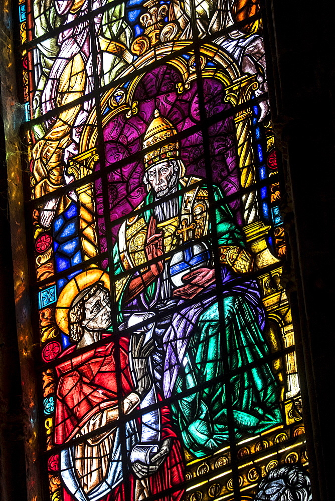 Stained glass in Monastery of Jeronimos, Lisbon, Portugal