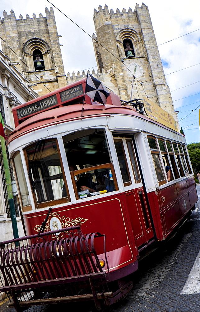 Tram in front of Lisbon Cathedral, Lisbon, Portugal